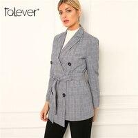 Women Autumn Long Blazers Female Plaid Blazer Jacket Office Lady Slim Gray Long Coat Women's Jacket Outwear Plus Sizes Talever