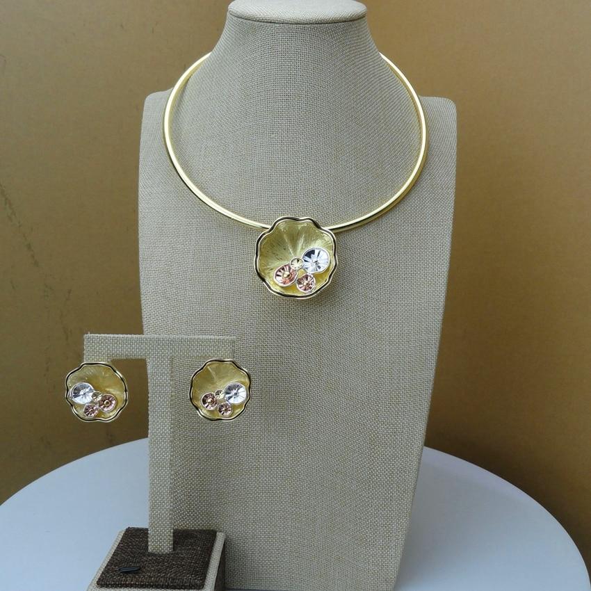 2019 Yuminglai  Italian Design 24K Dubai Costume Jewelry Sets Necklace and Earrings FHK6592Jewelry Sets