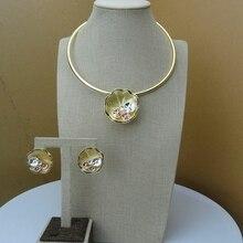 2019 Yuminglai  Italian Design 24K Dubai Costume Jewelry Sets Necklace and Earrings FHK6592