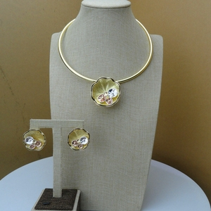 Image 1 - 2019 Yuminglai  Italian Design 24K Dubai Costume Jewelry Sets Necklace and Earrings FHK6592