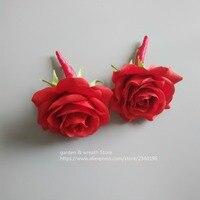 ウェディング花嫁介添人花束新郎boutonnieresレッドローズ&ピンクアジサイ花束でワインリボン