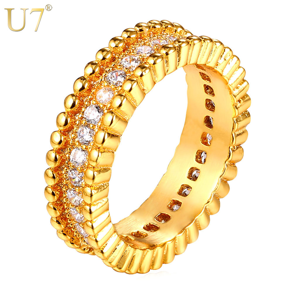 U7 Luxury AAA Cubic Zirconia Ring Jewelry Wholesale Gold/Silver Color Trendy Party Gift Round Rings Women/Men Jewelry R328