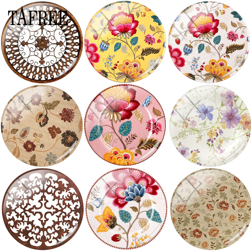 TAFREE Autumn Design Vintage Flowered Picture Beads 12mm-20mm Glass Cabochon Dome Cameo Pendant Settings For DIY Rings Brooches