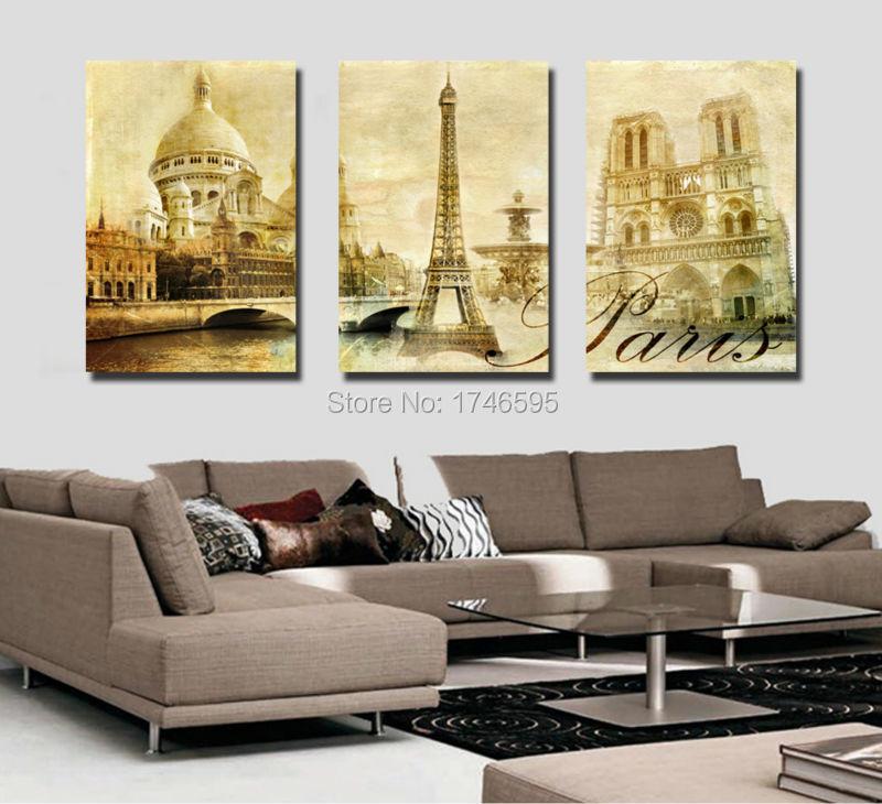 big 3pcs home wall decor paris city building wall art picture for living room wall decor