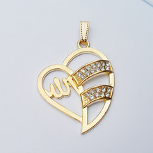 2017 New style romantic alloy gold-color Muslim heart slide pendant,delicate heart-shaped lover's Muslim pendant jewelry gift(China)