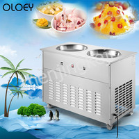 Fried Yogurt Machine Fried ice Machine Fried ice Cream Machine Stainless Steel Double Round Pot Commercial Fried ice Machine