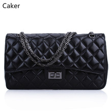 Caker Brand 2017 Women  Diamond Lattice Top Real Genuine Leather Handbags Lady Red Black Chain Jumbo Shoulder Bags Wholesale