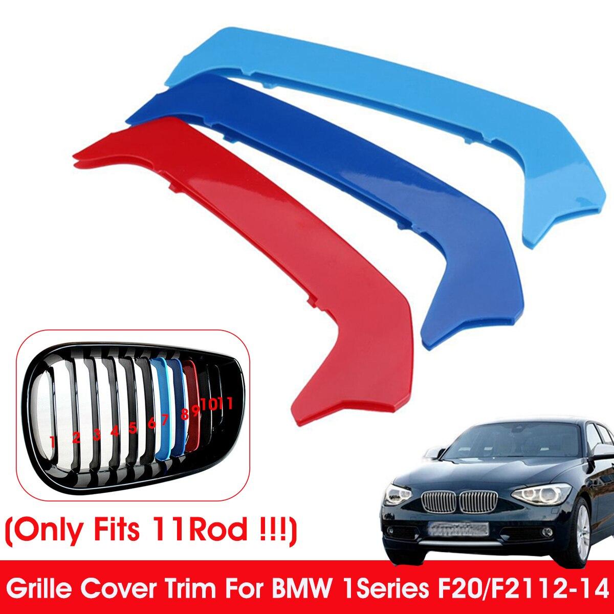 11 grilles M-Couleur Avant Calandre Car 3D Styling Avant Grille Insert Garniture Motorsport Bandes grill Couverture Autocollants Pour 116i 118i 120i