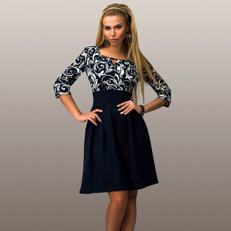 New-2017-Women-Summer-Casual-Dress-Half-Sleeve-Print-Office-Shirt-Dresses-square-collar-Work-Wear