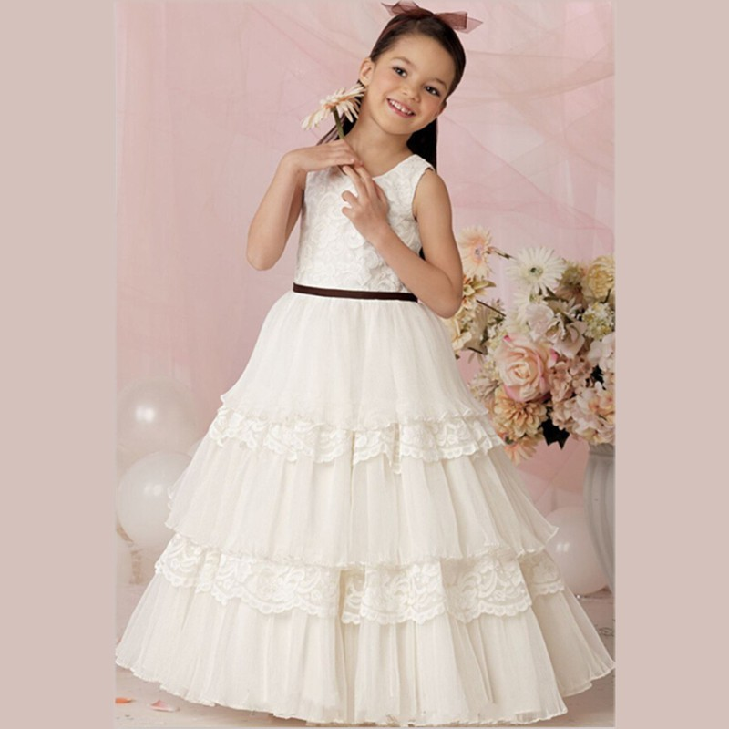 2018 first communion dresses for girls White Lace Flower Girl ...