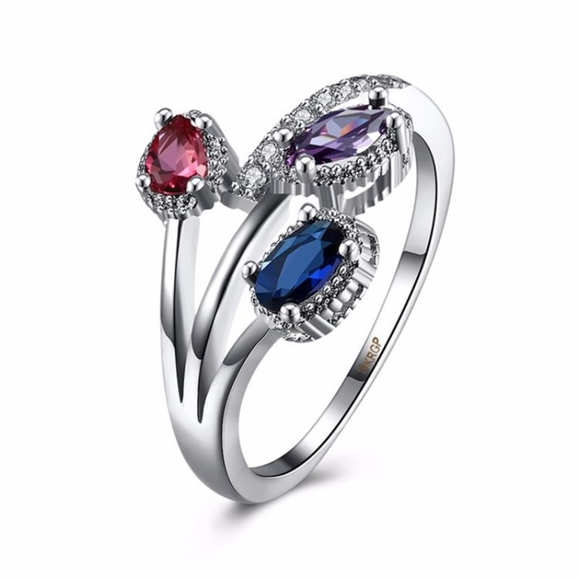 White Gold Color Wedding Rings for Women Girls Purple Red Simulated
