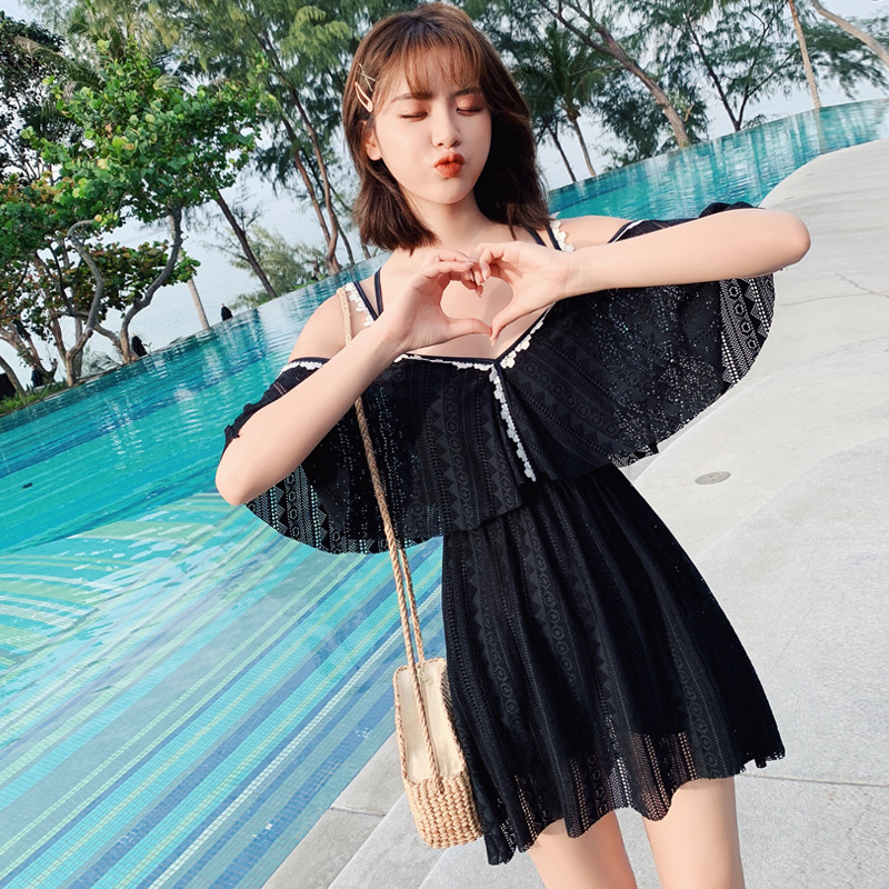 Sexy One Piece Swimsuit 2019 New Style Black Mesh Slim Swimming Suit Summer Patchwork White Ruffle Swimming Suit For Women in Body Suits from Sports Entertainment