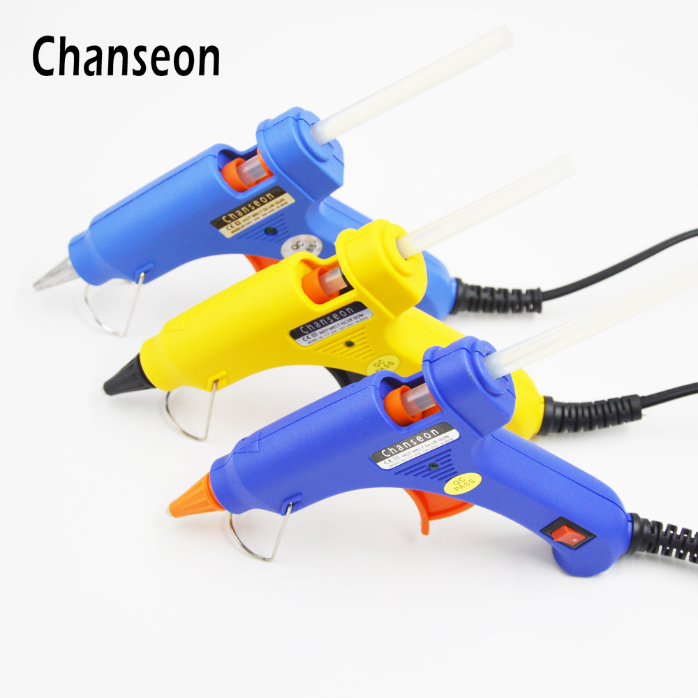 Chanseon 3 Colors Available Hot Glue Gun 20W EU Plug Diameter 7mm with 1pc Free Stick