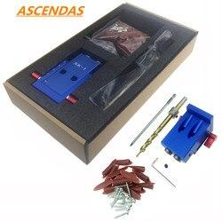 Ascendas mini bolso estilo buraco gabarito kit sistema para trabalhar madeira & marcenaria + passo broca & acessórios conjunto de ferramentas de trabalho madeira