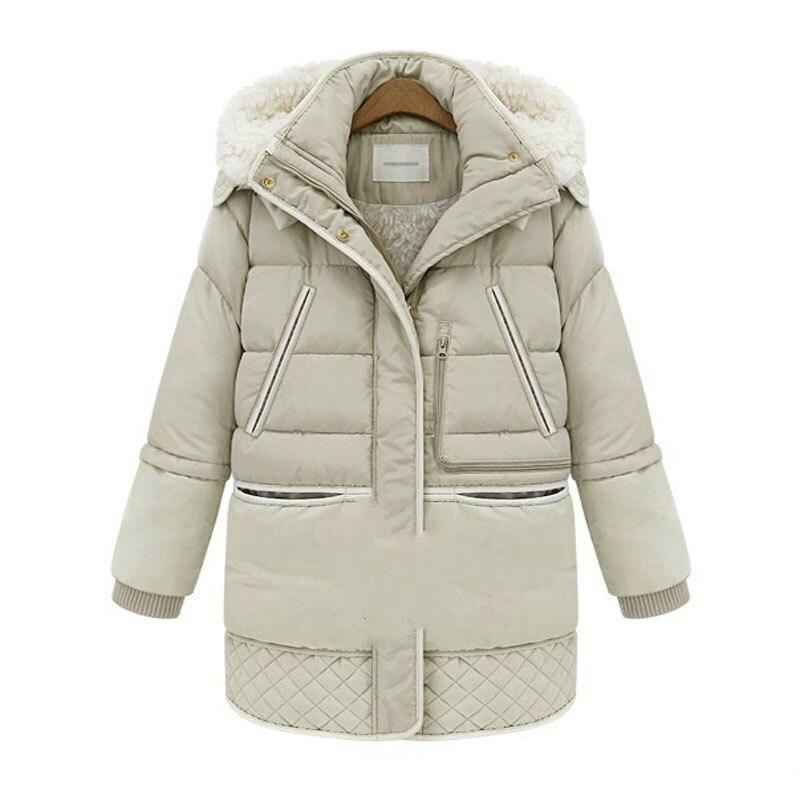 2017 New Winter Thickening Plus Size 3xl   Parka   Women Slim Long Sleeved Hooded Fake Wool Lining Warm Black Jacket Casaco Inverno