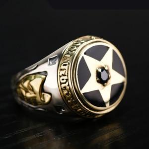 Image 4 - ZABRA oude zilversmid 925 zilveren ornament Thai zilveren pentagram zwarte Zirkoon zilveren ring herstellen van oude manieren mannen ringen