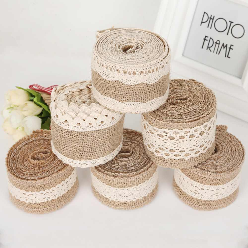Vintage Party DIY Wedding Lace Ribbon Hessian Edge Jute Burlap Sisal Trim
