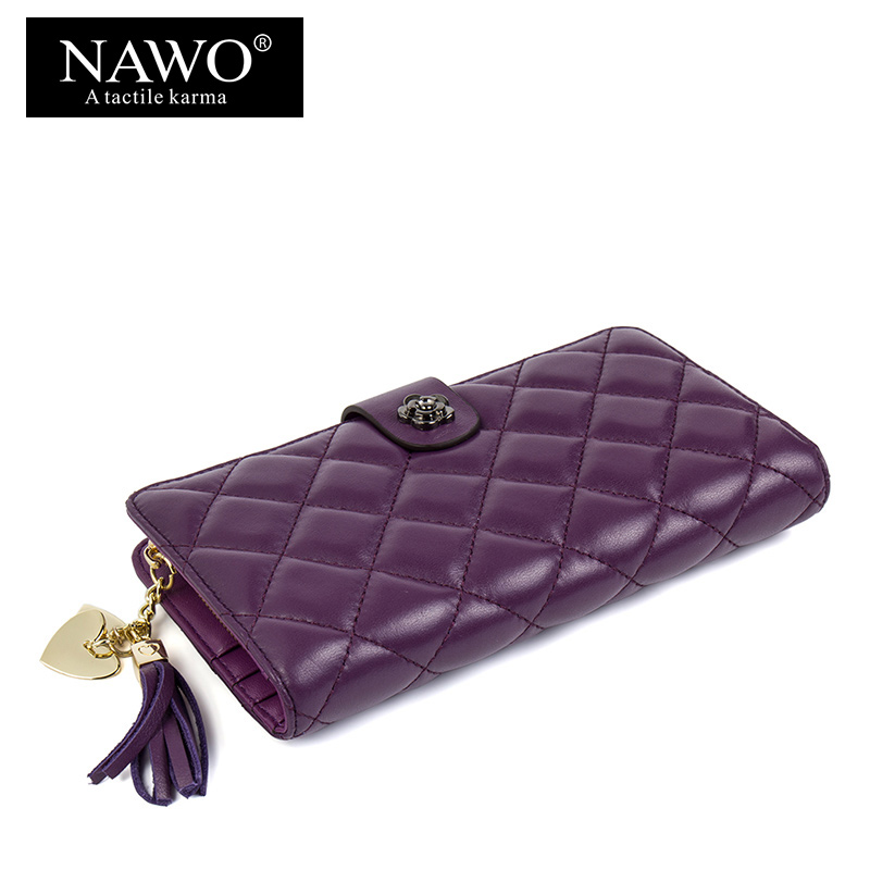 NAWO Sheepskin Genuine Leather Women Wallets High Quality Day Clutches Plaid Wallet Female Coin Pocket Long Hasp Purse Wristlet women genuine leather character embossed day clutches wristlet long wallets chains hand bag female shoulder clutch crossbody bag