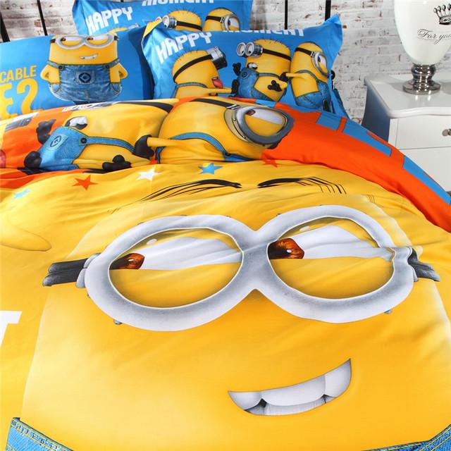 CARA CARLE Cartoon 3D Bedding Set 4pcs Minions Bedclothes Duvet Cover Bed Sheet  Children Kids Comforter Bedding Sets Bed Linen