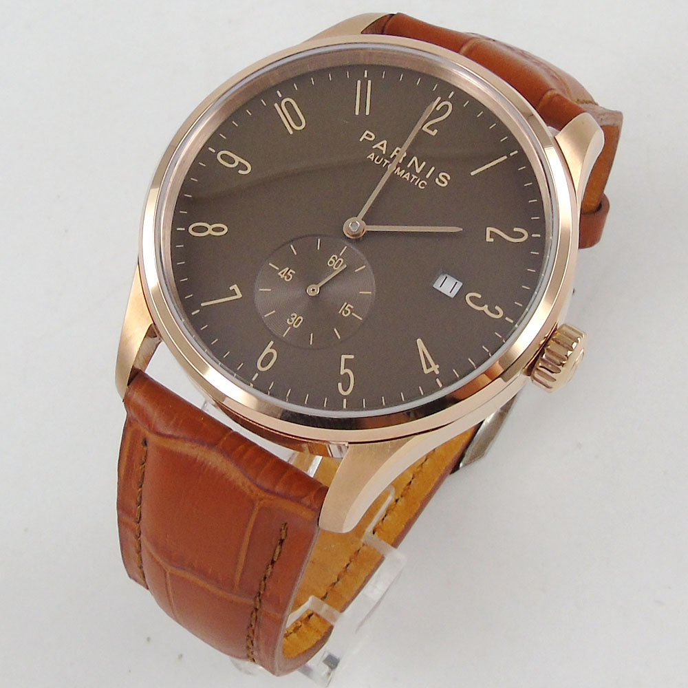 42mm Parnis Brown dial Camel Leather Strap Complete Calendar Crystal SS Rose Golden Plated Case Automatic movement Mens Watch42mm Parnis Brown dial Camel Leather Strap Complete Calendar Crystal SS Rose Golden Plated Case Automatic movement Mens Watch