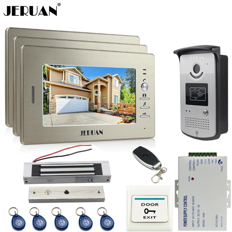 JERUAN 7`` LCD Video Intercom Video Door Phone Handsfree+access control system+three monitors+700TVL Camera+Magnetic lock