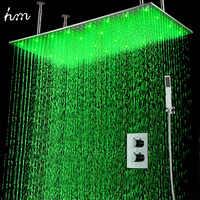 """Hm 2 Jets ensemble de douche thermostatique LED LED instal dans le mur 20x40 """"pomme de douche LED avec pomme de douche à main"""