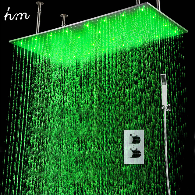 """hm 2Jets Concealed Thermostatic Shower Set installed in wall 20x40"""" Rainfall LED Shower Head with Hand Shower Head"""