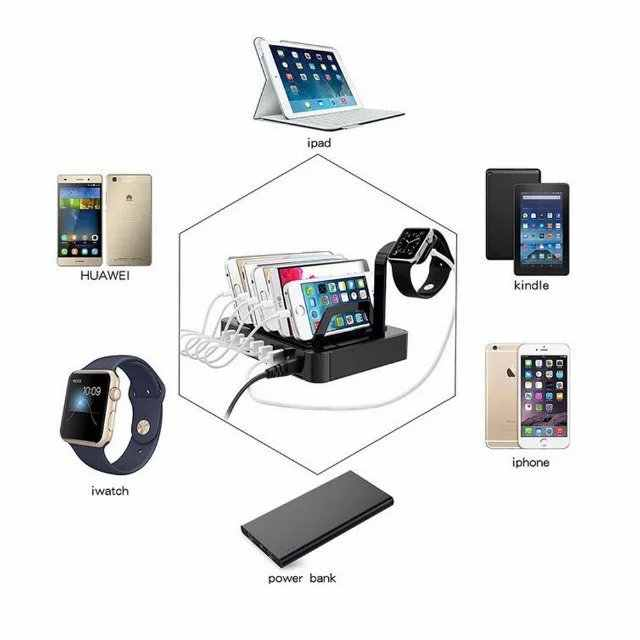 6 Port Multi USB Charger HUB Display USB Pengisian Stasiun Dock Universal Ponsel Desktop Dinding Rumah Charger Uni Eropa US plug