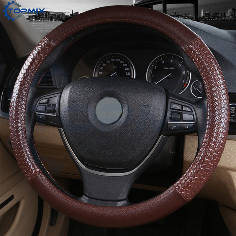 38cm Car Steering Wheel Cover Leather Steering Covers For Peugeot