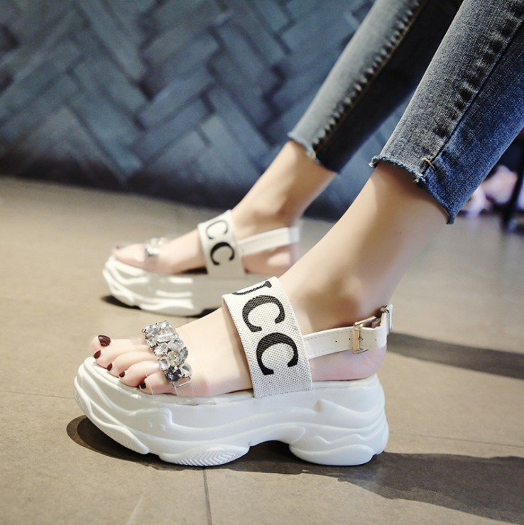 OLOMM Luxury Designer Crystal Wedges Chunky Heels Brand Women Sandals Summer Platform Beach Shoes High Heeled Red sandalias