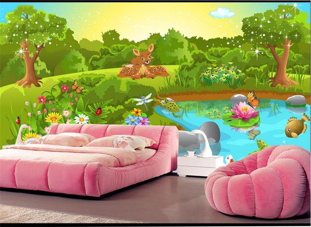3D wallpaper/custom photo wall paper/Green dream loving animal world/TV/sofa/Bedding/KTV/Hotel/living room/Children