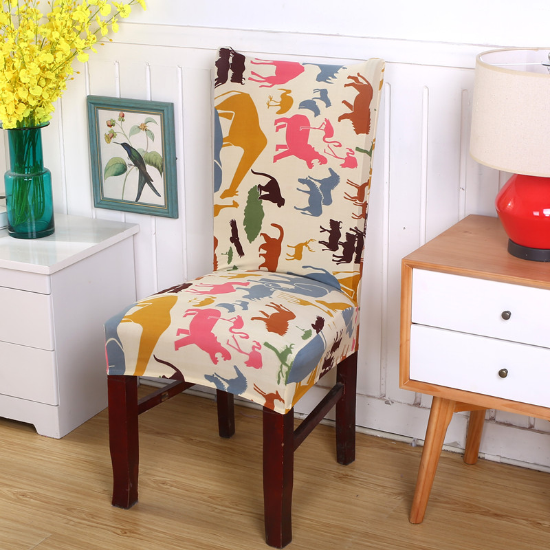 Spandex Stretch Chair Covers Polyester Animal World Printed Elastic Dining Chair Cover For Weddings Party Hotel Chair Covers V43