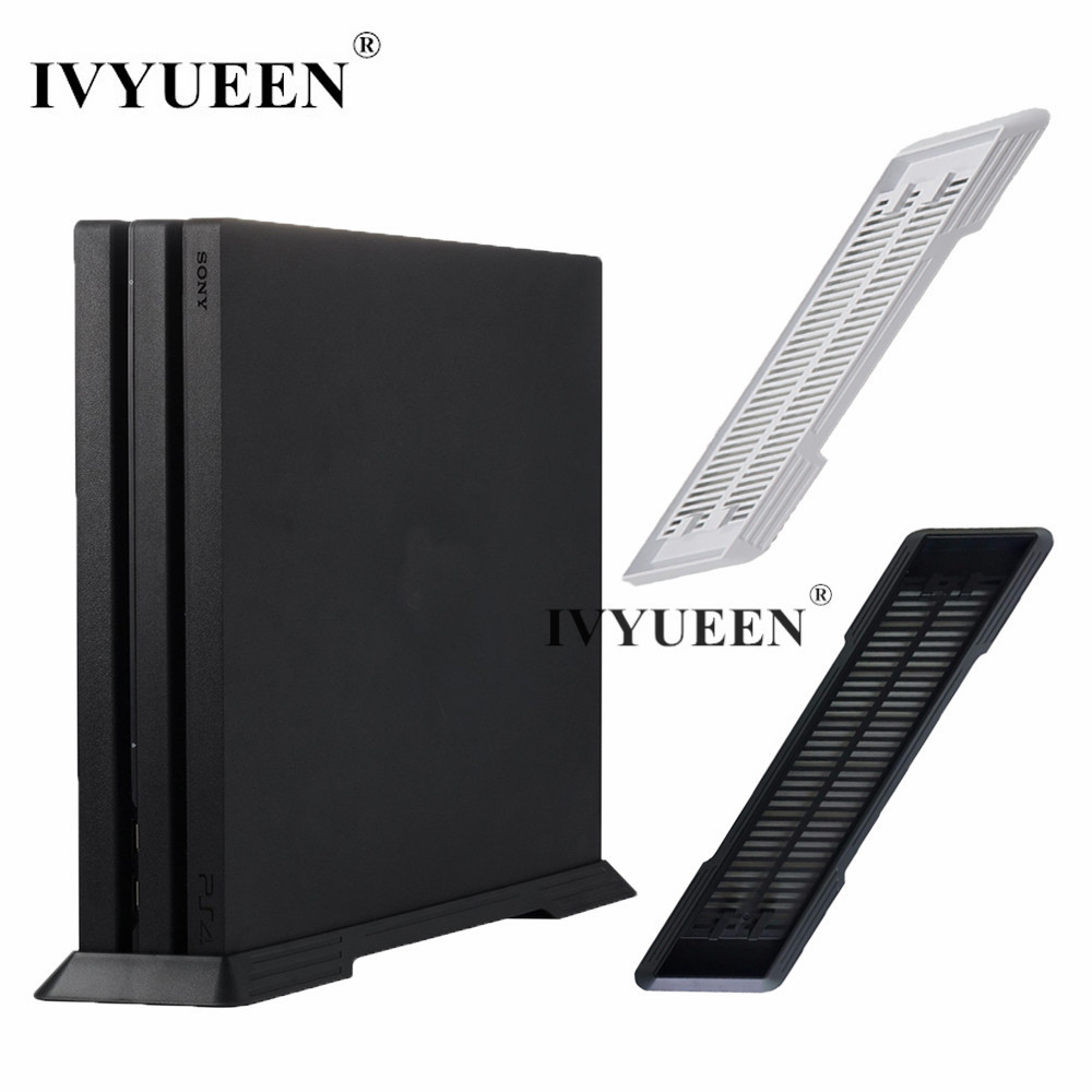 IVYUEEN Black / White Anti-Slip Vertical Stand Dock Mount Cradle Holder For Sony Play Station 4 PS4 Pro Console Game Accessories