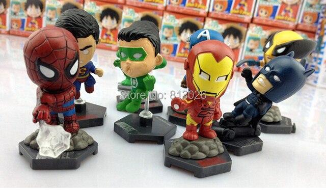 8 pçs/set homem de ferro homem aranha Batman Hulk X - menAction figuras PVC brinquedos coleção figuras brinquedos