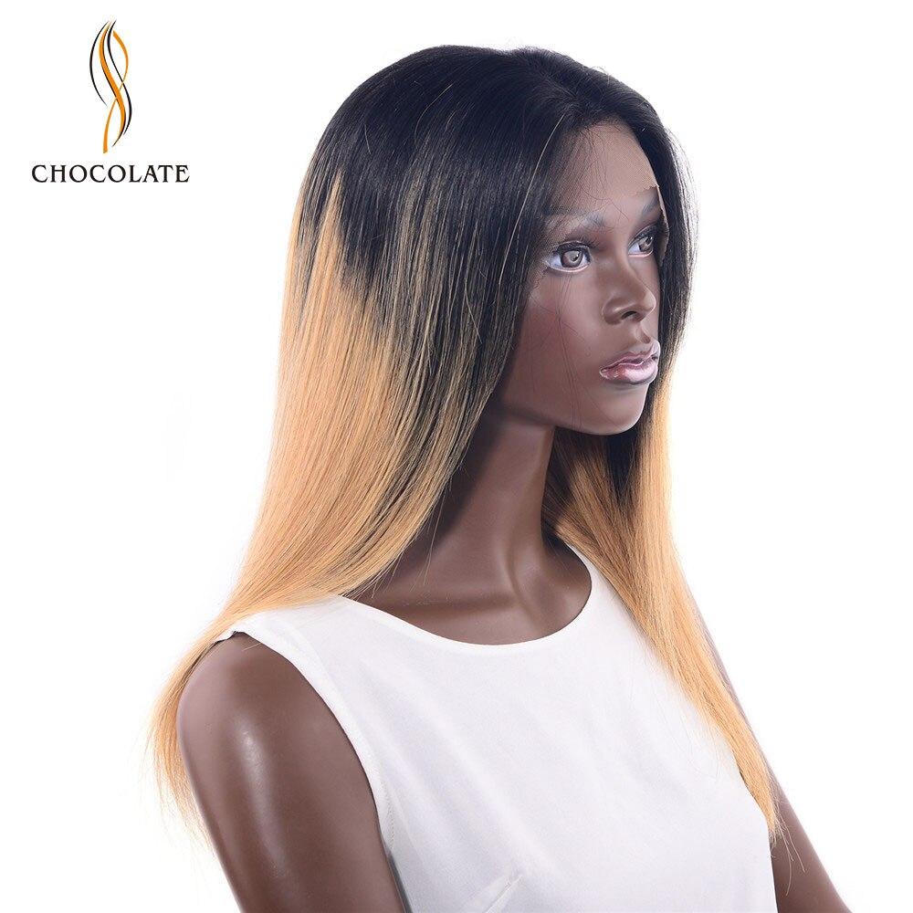 Шоколад прямо Ombre Цвет парик Синтетические волосы на кружеве парик со светлыми Цвет 100% перуанский Волосы remy парик предварительно сорвал вол...