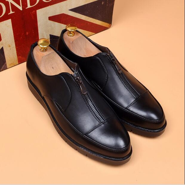 d9e9ac8f7b09d 2017 full grain leather mens dress shoes black cap toe Italian fashion  formal designer business male shoes men flats