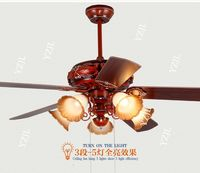 Home ceiling fan light leaves 42inch Chinese style retro restaurant fan ceiling lamps living room antique fan lights ceiling