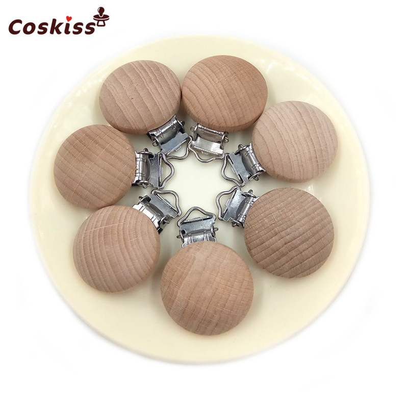 2pc Beech Wooden Pacifier Chain Accessory Silicone Bead Baby Teether Teething Infant Soother Clip Nipple Clasp Toy DIY Hold Tool