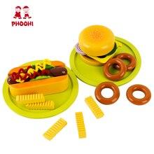 Wooden Fast Food Toy Children Simulation Hamburger Hotdog Pretend Play Set For Kids PHOOHI