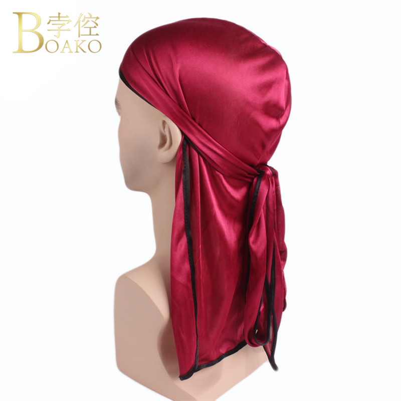 New Arrival Unisex Men Women Satin Breathable Knitted Bandana Hat Lacing Bandanas Wigs Doo Biker Headwear Pirate Turban Hat R5