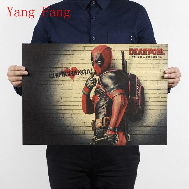 Cartel Vintage marvel deadpool póster pegatinas de pared para habitaciones de niños pegatinas de pared de superhéroes pegatinas 51x35 cm