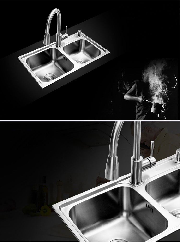 getSubject aeProduct 78X43x22cm Handmade Double Bowl Undermount