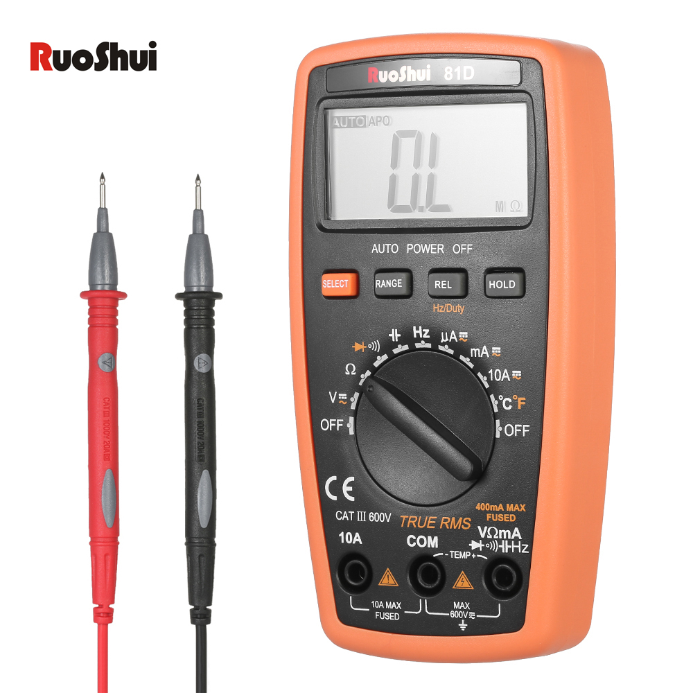 3999 Count True RMS Digital Multimeter DMM DC AC Voltage Current Meter Resistance Diode Capacitance Frequency Temperature Tester mastech ms5208 6600counts digital multimeter true rms ac voltage current temperature tester megger insulation resistance meter
