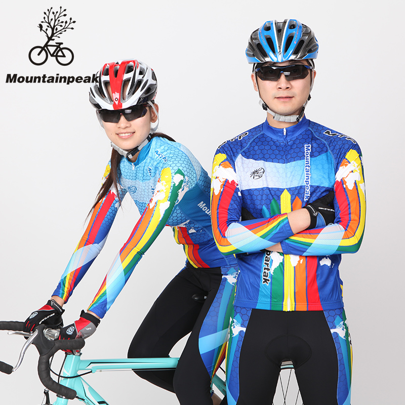 Mountainpeak New Lovers Cycling Jerseys Long Suit Bicycle Equipment Suit Men and Women Blue live team cycling jerseys suit a001