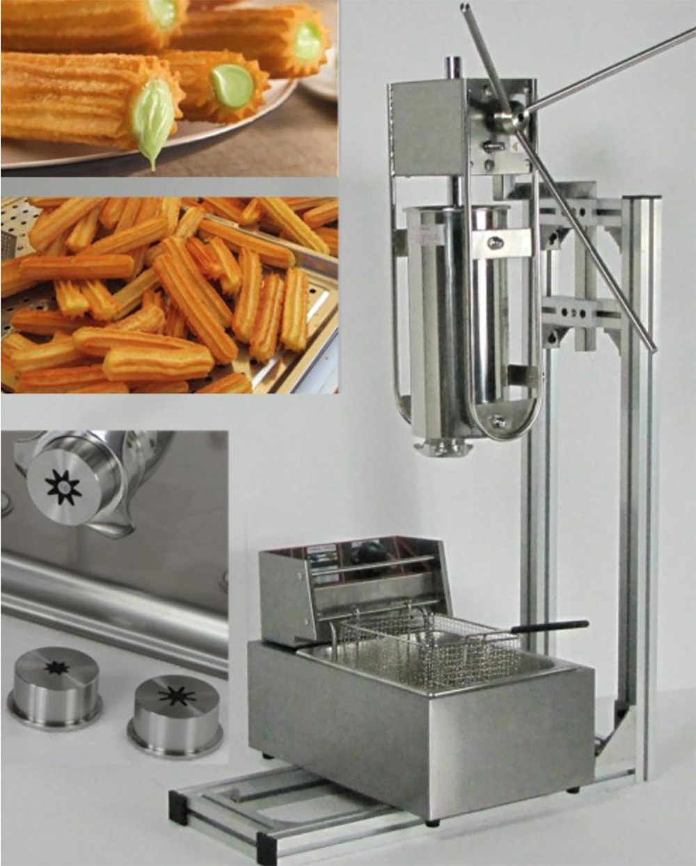 3 in 1 5L Manual Churros Machine + Working Stand + 6L Deep Fryer salter air fryer home high capacity multifunction no smoke chicken wings fries machine intelligent electric fryer