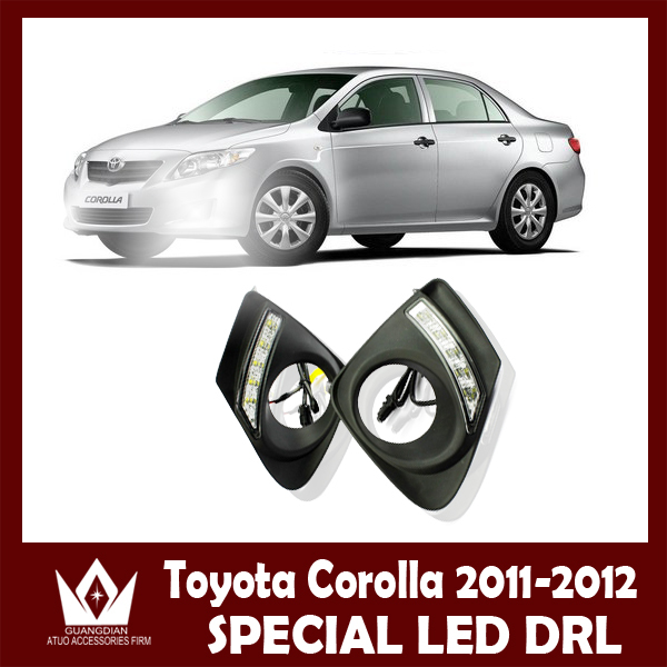 Night lord For Corolla 2011 2012 2013 Daytime running light CAR vehicle LED DRL with Aluminum rear cover car rear trunk security shield shade cargo cover for nissan qashqai 2008 2009 2010 2011 2012 2013 black beige