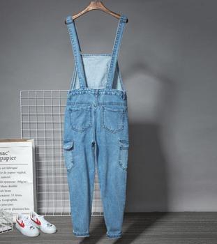 Trend personality Siamese suspenders men's summer hip-hop denim nine pants men's Slim Korean casual jumpsuits