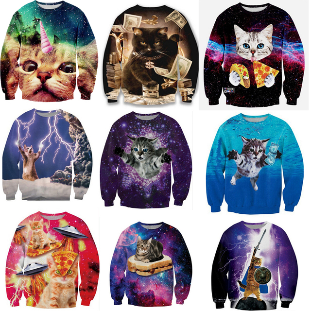 2019 Cute Cat Women/Men Harajuku Sweatshirt 3d Animal Print Galaxy Space Cat Sweatshirt Hoodies Funny Pizza Winter Clothes