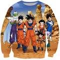 Clássico Camisola Das Mulheres Dos Homens de Anime Dragon Ball Z Super Saiyan Goku/Vegeta/Piccolo 3D mangas Compridas Camisola Crewneck Pullovers