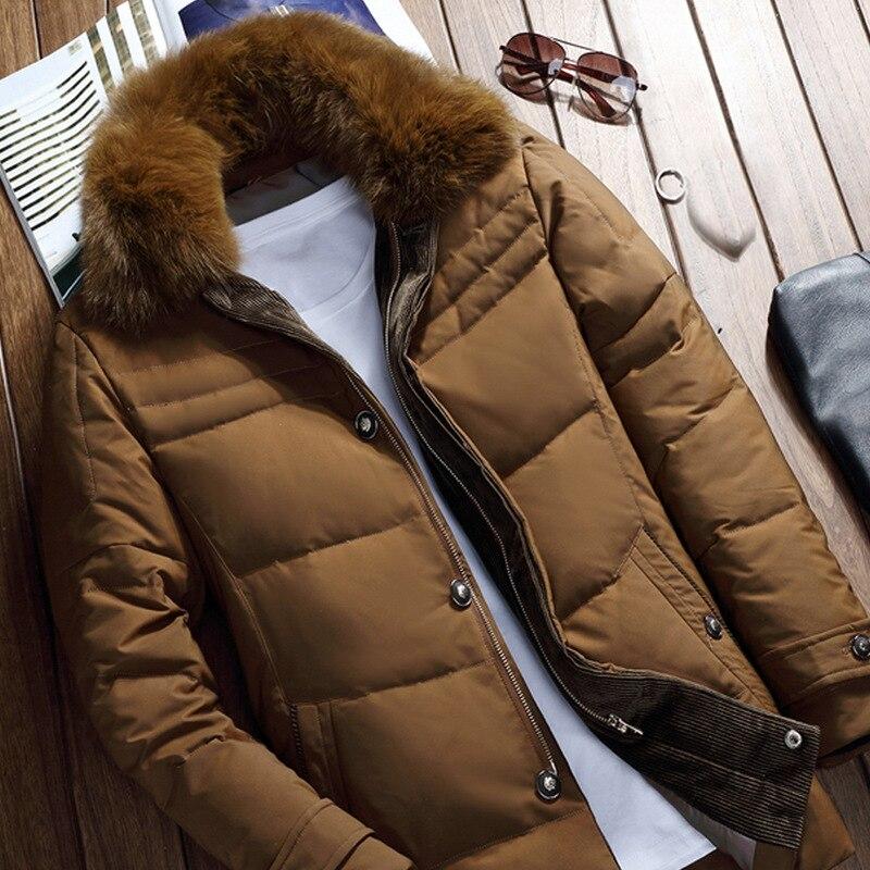 Real Fox Fur Collar Down Coat mens Hooded Warm Jacket Winter Parka Winterjacken Coats